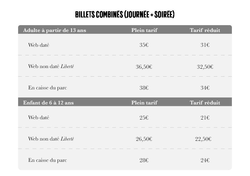 Tarifs billets Combiné - Rocher Mistral